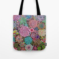 succulents Tote Bags featuring Succulents by gwolly