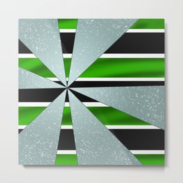 4Shades Glass: Green B/W Metal Print