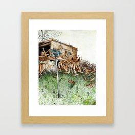 broken barn Framed Art Print