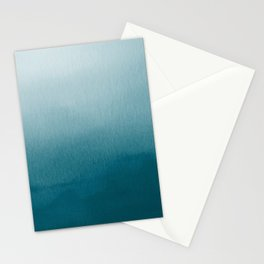 Tropical Dark Teal Inspired by Sherwin Williams 2020 Trending Color Oceanside SW6496 Watercolor Ombre Gradient Blend Abstract Art Stationery Cards