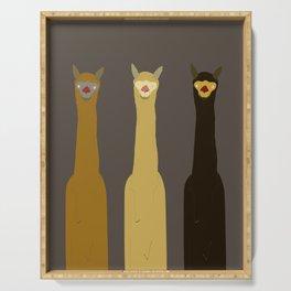 Triple LLAMAS ALPACAS CAMELS - Dark Serving Tray