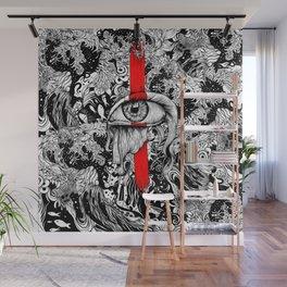 Red inked Eye Wall Mural