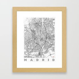 Madrid Map Line Framed Art Print