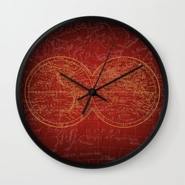 Antique Navigation World Map in Red and Gold Wall Clock