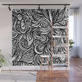 Black and White Abstract Design Wall Mural