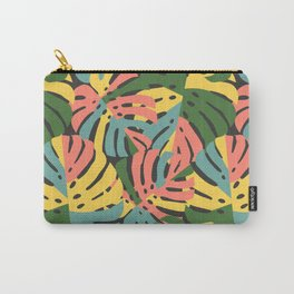 Color Blocked Monstera Leaves - Bold Carry-All Pouch