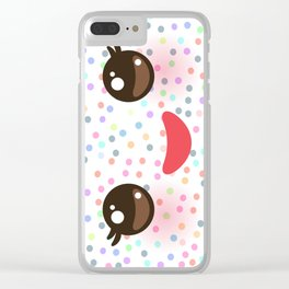 Kawaii funny muzzle with pink cheeks and eyes on white polka dot background Clear iPhone Case