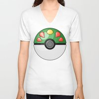 pokeball V-neck T-shirts featuring Friendship Pokeball by Amandazzling