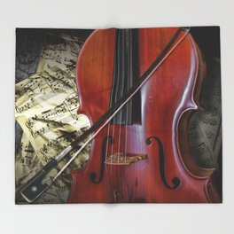 Cello with Bow a Stringed Instrument with Classical Sheet Music Throw Blanket