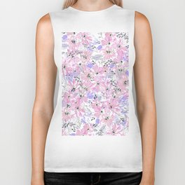 Watercolor blush pink lavender hand painted floral Biker Tank