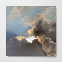 Sunset With Blue And Gold Cloudy Sky  Metal Print