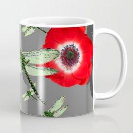 EMERALD GREEN DRAGONFLIES & RED POPPY FLOWERS GREY ART Coffee Mug