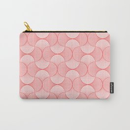 Happy Coral Retro Flowers Abstract Carry-All Pouch