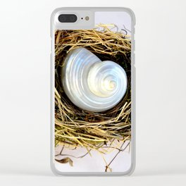 BIRD NEST AND WHITE SEASHELL Clear iPhone Case