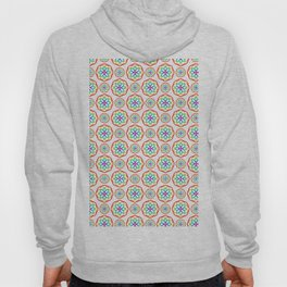 Geometrical red pink orange teal fractal circles pattern Hoody