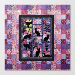 Night Cats on Patchwork Canvas Print