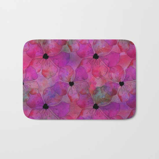 Amazing Pink watercolor floral art Bath Mat
