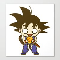 dragonball Canvas Prints featuring Young Goku with dragonball by Samtronika