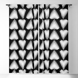 White striped hearts on a black background. Blackout Curtain