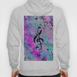 Artistic neon pink teal black watercolor classical music note Hoody