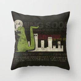 Dinosaur in the City Throw Pillow