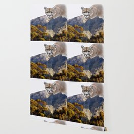 Mountain lion and mountains Wallpaper