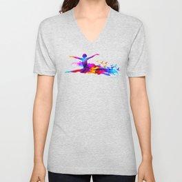 Colorful ballet dancer with flying birds Unisex V-Neck
