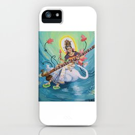 Saraswati, Hindu Goddess of Music Art & Knowledge iPhone Case
