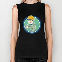 Builder Construction Worker Thumbs Up Circle Cartoon Biker Tank