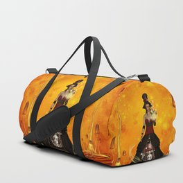 Fantasy women with carousel and horses Duffle Bag