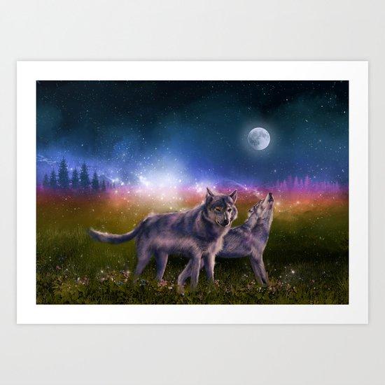 wolf and sky Art Print