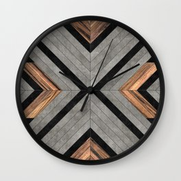 Urban Tribal Pattern No.2 - Concrete and Wood Wall Clock