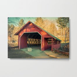 Creamery Covered Bridge West Battleboro Vermont Historic Red Romantic Enclosure Metal Print