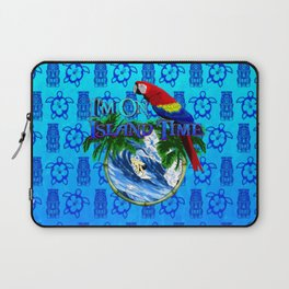 Blue Tikis Island Time And Parrot Laptop Sleeve