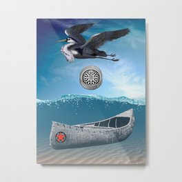 Canoe Compass And Heron Metal Print