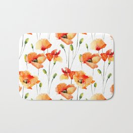 Hand Painted orange yellow watercolor poppies floral Bath Mat