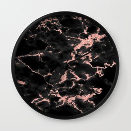 Beautiful Black marble with Glittery Rose Gold Veins Wall Clock