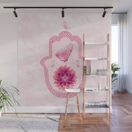 Butterfly Lotus Pink Hamsa Hand Wall Mural