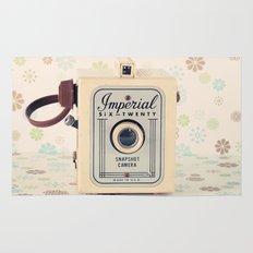 Retro Film Camera on Beige - Cream Pattern Background  Rug