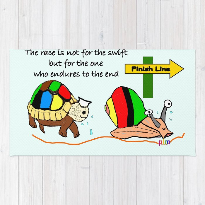 THE RACE - the turtle and the snail Rug