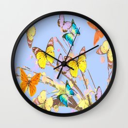 Playing butterflies on a summer day - lovely blue sky background - cheerful and happy Wall Clock