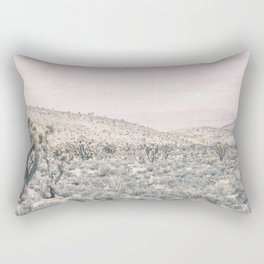Mojave Pink Dusk // Desert Cactus Landscape Soft Cloudy Sky Mountain Scape Photograph Rectangular Pillow