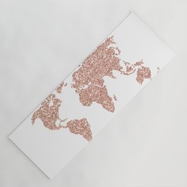 Rose Gold Glitter World Map Yoga Mat