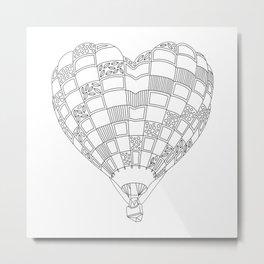 Heart Hot Air Balloon, Adult Coloring Illustration Metal Print