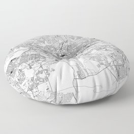 Johannesburg White Map Floor Pillow