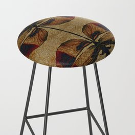 Dragonfly 2.0 Mirrored on Leather Bar Stool