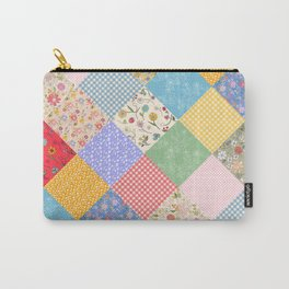 Happy Cottage Diamond Patchwork Quilt Carry-All Pouch