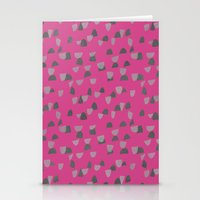 gray pattern Stationery Cards featuring Pink & Gray pattern by Georgiana Paraschiv