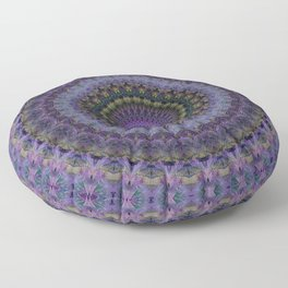 Floral mandala in violet and purple tones Floor Pillow