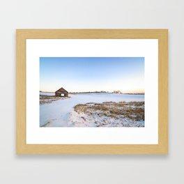 Snowy Barn Landscape Framed Art Print